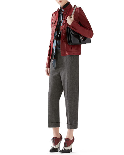 Leather Single-Breasted Jacket, Leaves Print Silk Shirt & Felted Herringbone Ankle Pant