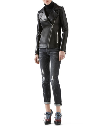 Leather And Knit Biker Jacket, Cashmere Turtleneck Sweater & Stone Washed Stretch Ripped Denim Pant
