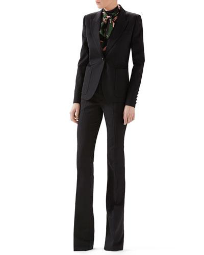 Wool Single-Breasted Blazer, Leaves Print Crepe De Chine Top & Wool Skinny Flare Pant