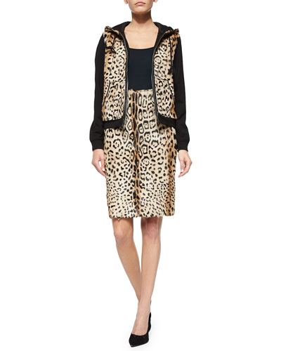 Elodie Leopard-Print Lamb Fur Jacket & Vania Skirt
