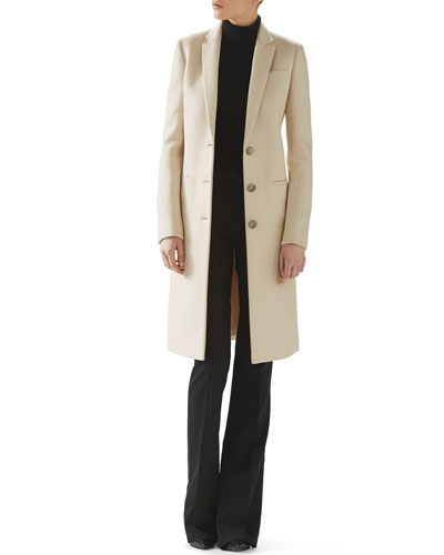 Wool Coat, Cashmere Turtleneck Sweater & Wool Skinny Flare Pant