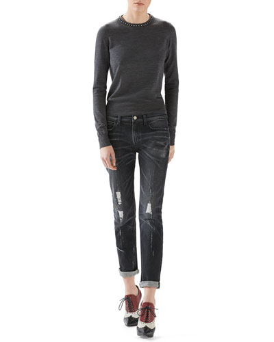 Merino Wool Sweater With Embroidery & Stone Washed Stretch Ripped Denim Pant