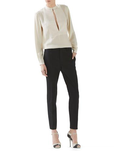 Fluid Matte Satin Shirt & Wool Skinny Flare Pant