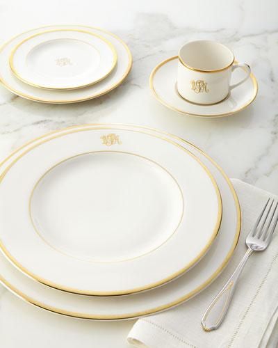 Ultra-White Script Monogram Dinnerware