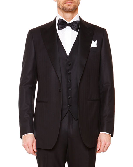 Stefano Ricci Peak-Lapel Wool Tuxedo, Black