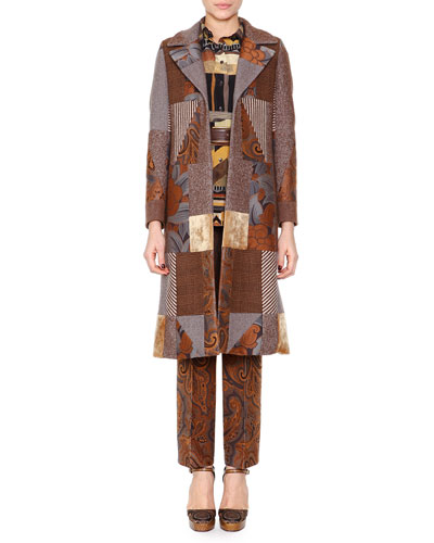 Patchwork Jacquard Fitted Coat, Geometric-Print Button Blouse & Flared Paisley Cropped Pants