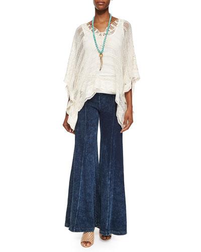 Ara Hacienda Crochet Top, Basic Slim Cotton Tank & French Terry Wide-Leg Pants, Women's