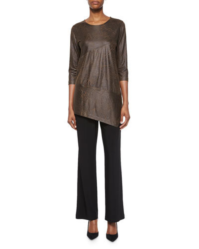 3/4-Sleeve Distressed Faux-Suede Tunic & Stretch-Knit Straight-Leg Pants, Petite