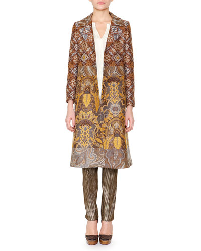 Paisley Jacquard Fitted Coat, Split-Neck Crystal-Pleated Tunic & Herringbone Brocade Skinny Pants