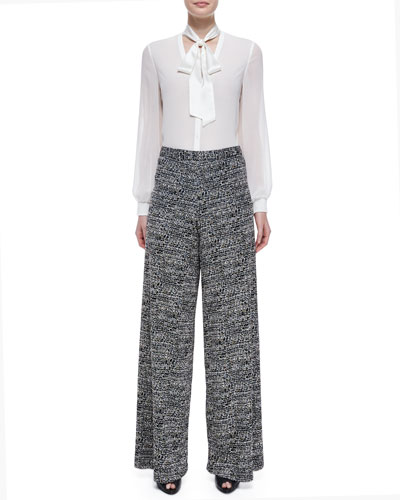Devin Tie-Neck Blouse & Tweed Super-Flared Wide-Leg Pants