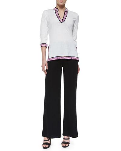 3/4-Sleeve Tunic W/ Novelty Trim & Washable Wide-Leg Pants, Women's