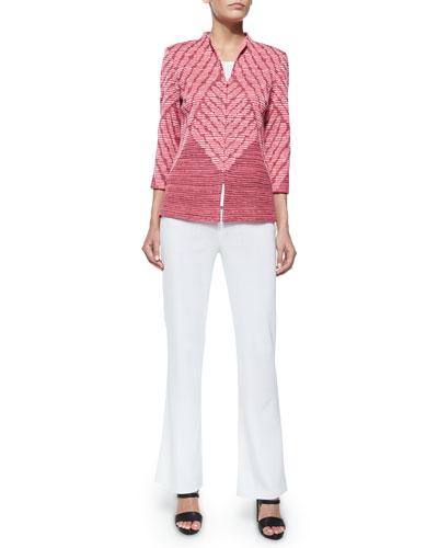 3/4-Sleeve Diagonal Lines Jacket, Scoop-Neck Knit Tank & Boot-Cut Knit Pants, Women's