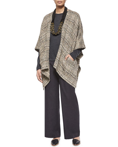 Extra Wide Long-Back Tabard, Long-Sleeve Cashmere Sweater, Silk-Cashmere Wide-Leg Pants & Acai & Horn Multi-Strand Necklace