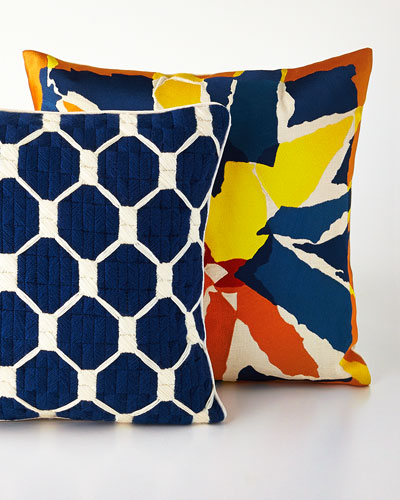 Navy & Orange Embroidered Pillows