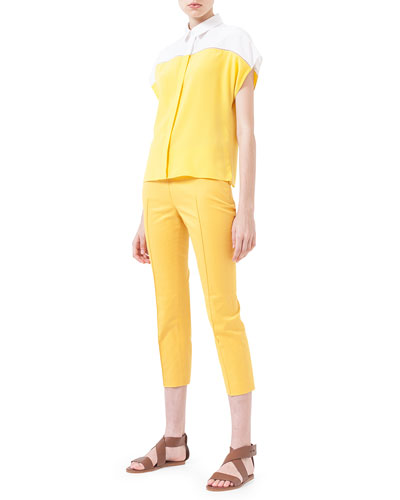 Colorblock Hemstitched Button Blouse & Slim-Fit Twill Cropped Pants