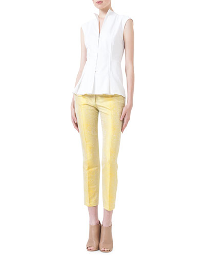 Zip-Front Seamed Blouse & Jacquard Piped-Seam Pants