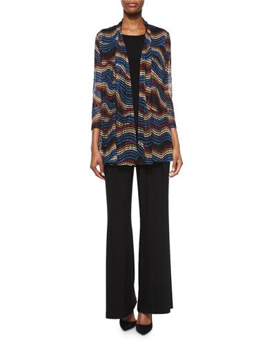 Stretch Knit Long Tank, Stretch-Knit Wide-Leg Pants & Wavy-Print Lace Cardigan, Petite