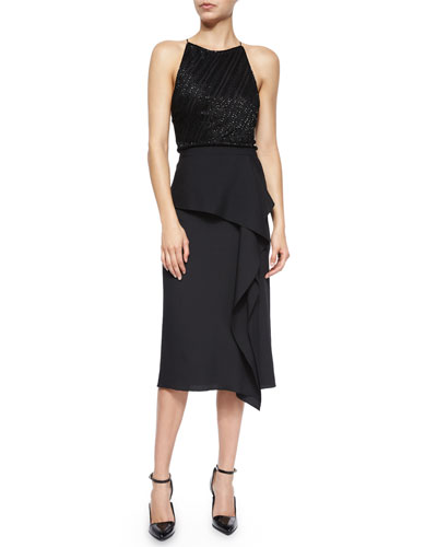 Beaded Halter Top & Asymmetric Draped-Front Skirt