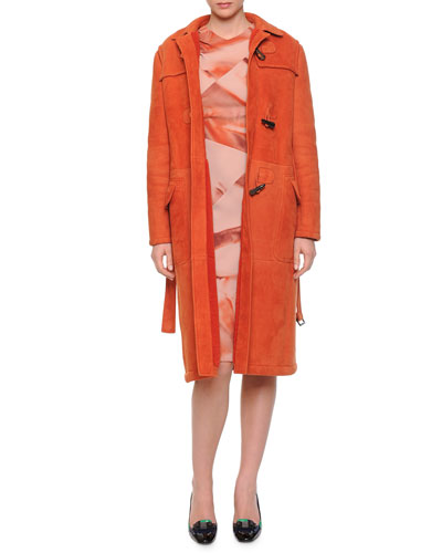 Slim-Fit Shearling Toggle Coat & Arizona Printed Pintucked Dress