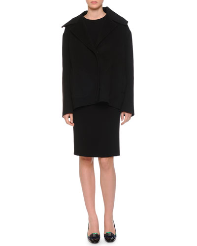 Cashmere Notched Collar Full Body Jacket & Scrunched Bow-Detailed Crepe Dress