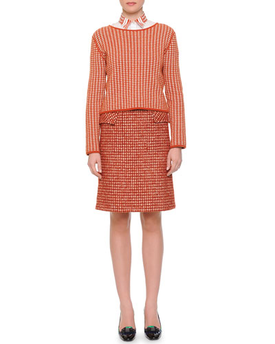Cashmere Check Woven Top, Laminated Print-Collar Button Blouse & Pied de Poule Slight A-Line Skirt