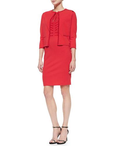 Knit-Trimmed Open Cardigan & Sleeveless Art Nouveau Dondi Dress