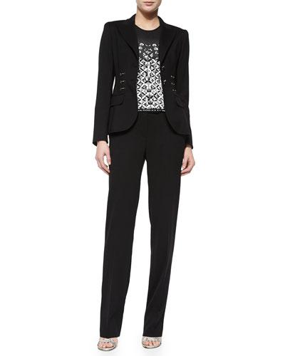 Twirling-Flower Pattern Top, Front Ring-Detail Blazer & Tammanu Straight Leg Pants