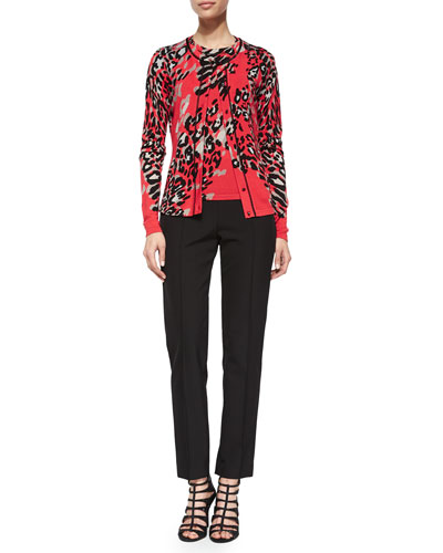 Leopard-Print Beaded-Neckline Cardigan, Top & Hepburn Slim Stretch Pants