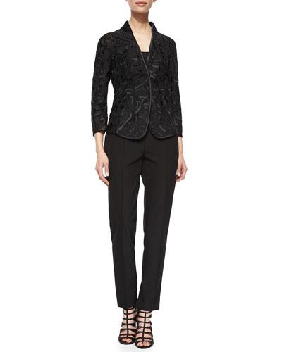 Embroidered Tulle Jacket & Hepburn Slim Stretch Pants
