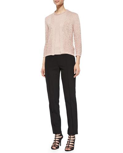 Sequin Yarn Cardigan, Top & Hepburn Slim Stretch Pants