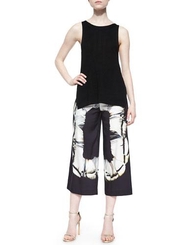 Sleeveless Sweater Tank W/ Slits & Scarf-Print Culottes