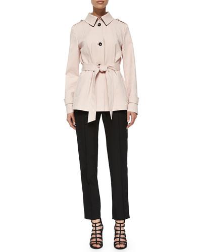 Techno Belted Short Coat & Hepburn Slim Stretch Pants