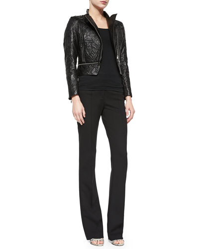 Climbing Flower Cropped Leather Jacket & Dondi Boot-Cut Pants