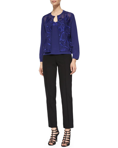 Climbing Floral Embroidered Blouse, Floral-Embroidered Camisole & Hepburn Slim Stretch Pants