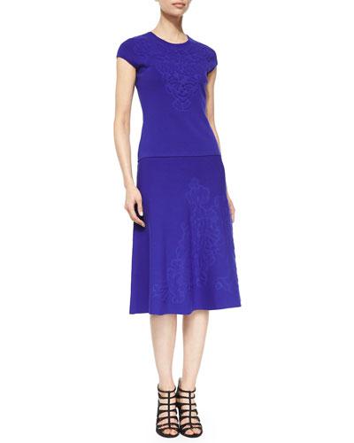 Embossed Cap-Sleeve Top & A-Line Skirt, Ink