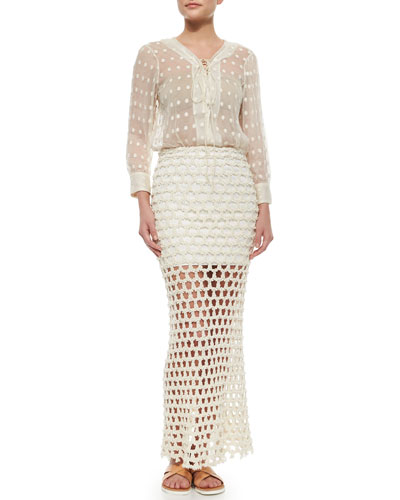 Oltane Sheer Dotted Lace-Up Top & Oletta Open-Weave Maxi Skirt