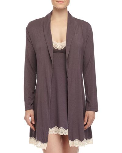 Lady Godiva Lace-Trimmed Robe & Chemise, Pebble