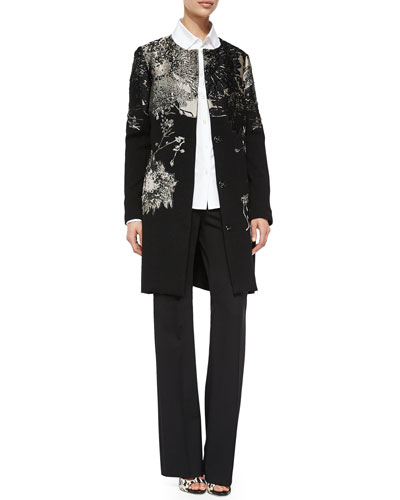 Brocade Metallic Sparkle Knit Topper, Cotton Blouse w/Crystal Cuffs & Dondi Boot-Cut Pants