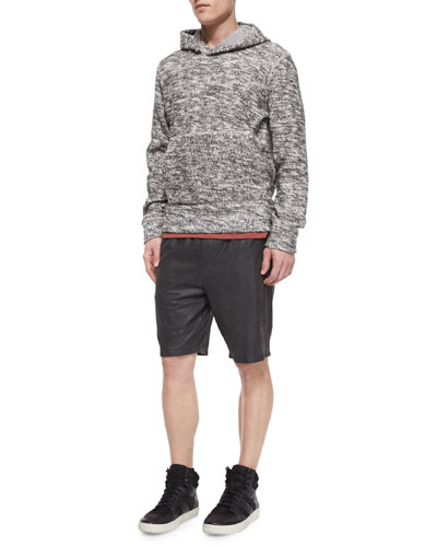 Marled Pullover Hoodie, Slub Crewneck Short-Sleeve Tee & Relaxed-Leg Leather Shorts