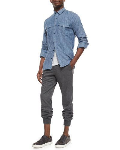 Brushed Twill Long-Sleeve Denim Shirt, Feeder-Stripe Knit Baseball Shirt & Lux Blend City Stretch-Knit Jogger Pants