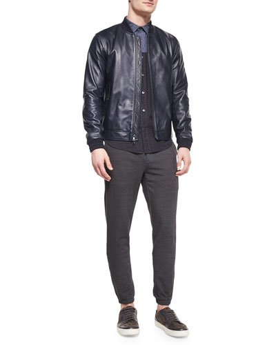 Leather Bomber Jacket, Colorblock Long-Sleeve Shirt & Denim Jogger Pants with Leather Waist