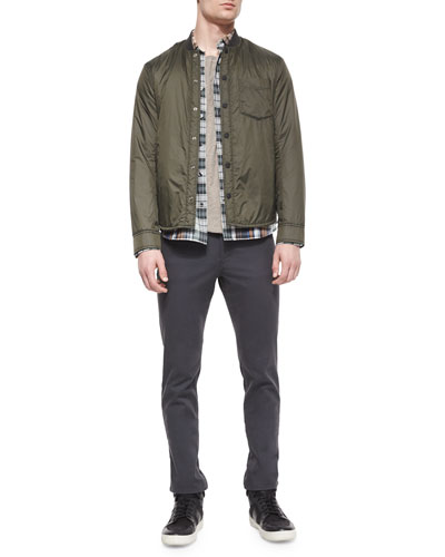 Lightweight Nylon Shirt Jacket, Yarn-Dyed Plaid Long-Sleeve Shirt, Slub-Knit Crewneck Tee & Five-Pocket Stretch-Twill Pants