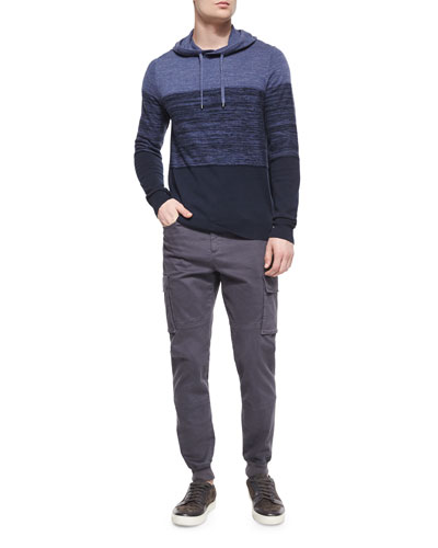 Cashmere-Blend Striped Hoodie & Stretch-Twill Cargo Jogger Pants