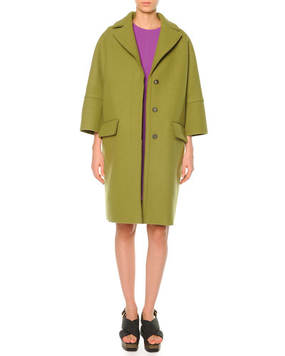 Pressed-Felt Three-Button Coat & Half-Sleeve Flared Dress