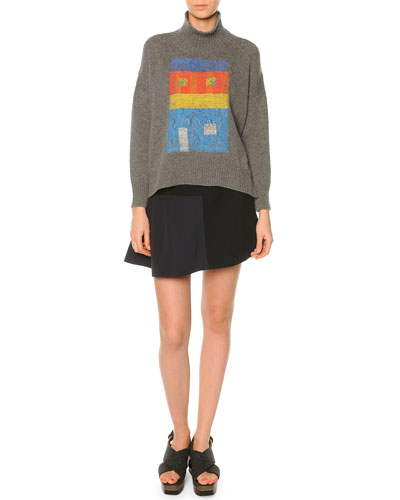 Cashmere-Blend Turtleneck House-Print Sweater & Colorblock Flutter-Hem Skirt