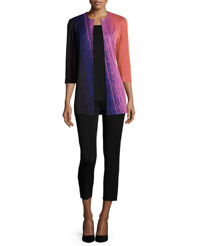 Colorful 3/4-Sleeve Long Jacket, Round Sleeveless Tank & Slim Ankle Pants, Petite