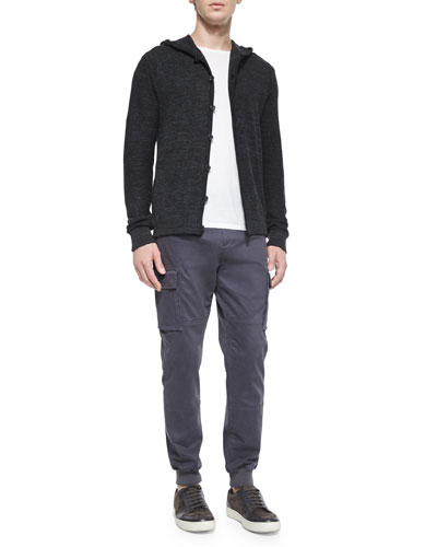 Long-Sleeve Hooded Cardigan & Stretch-Twill Cargo Jogger Pants