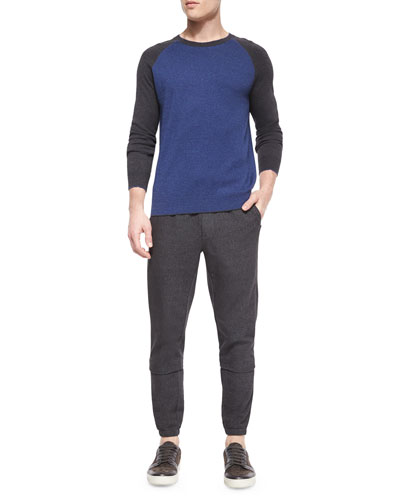 Flecked Raglan-Sleeve Baseball Shirt & Denim Jogger Pants with Leather Waist
