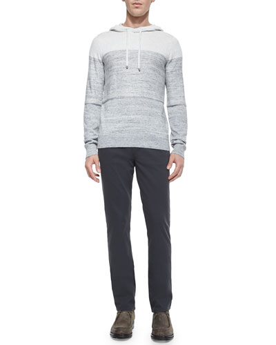 Mini-Stripe Long-Sleeve Hoodie & Five-Pocket Stretch-Twill Pants