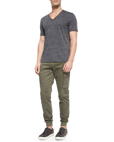 Jasper Short-Sleeve V-Neck Tee & Twill Knit Cargo Jogger Pants
